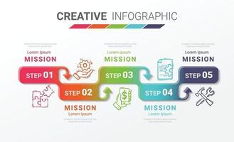Die Infografik-Entwurfsvorlage mit der Option Nummer 5 kann für Workflow-Layout-, Diagramm- und Nummernerhöhungsoptionen verwendet werden. vektor