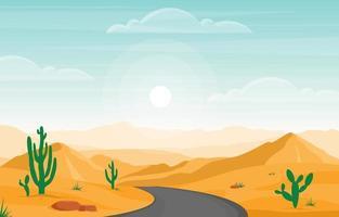 Tag im riesigen Wüstenfelsenhügelberg mit Kaktushorizontlandschaftsillustration