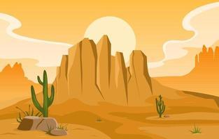 Tag in der riesigen westamerikanischen Wüste mit Kaktushorizontlandschaftsillustration