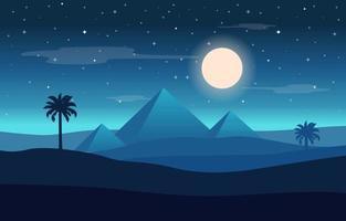 fullmåne över egyptisk pyramid, ökenlandskapsillustration