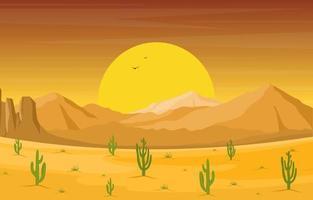 dag i vidsträckt västra amerikansk öken med kaktushorisontlandskapsillustration