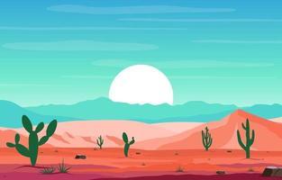 Tag im riesigen Wüstenfelsenhügelberg mit Kaktushorizontlandschaftsillustration vektor