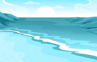 schöne Panorama-Strandlandschaftsillustration vektor