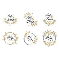 samling av blommiga mallar för bröllopslogotyp