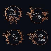 bröllop blommig logotyp mallar samling