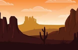 Tag in der riesigen westamerikanischen Wüste mit Kaktushorizontlandschaftsillustration vektor