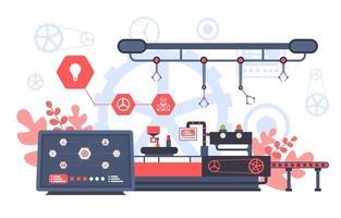 Industriefabrik mit Förderband und Robotermontage Abbildung vektor