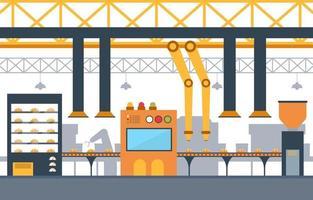 industriell fabrik med transportband och robotmonteringsillustration