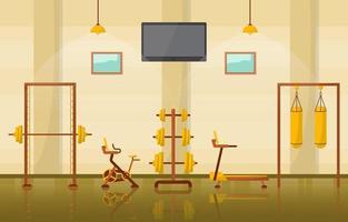 Fitness-Studio-Innenraum mit Bodybuilding-Ausrüstung Vektor-Illustration vektor