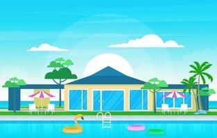 moderne Hausvilla außen mit Swimmingpool an der Hinterhofillustration vektor
