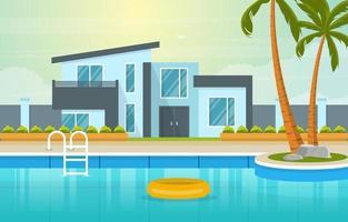 modernt hus villa exteriör med pool vid trädgårdsillustrationen vektor