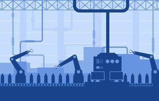 industriell fabriks transportband och robotmonteringsillustration