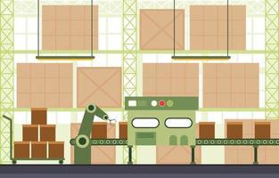 industrielle Fabrik Förderband und Roboter Montage Illustration vektor