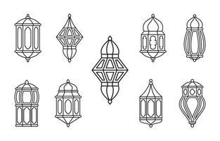 linje islamisk arabisk lyktkollektion isolerad