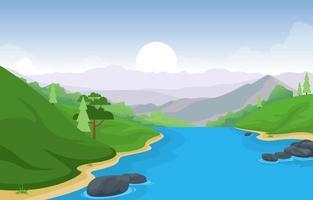 morgonlandskapsscen med flod, skog och kullar vektor