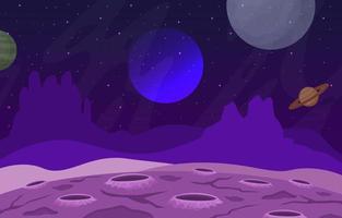 Landschaftsoberfläche der Science-Fiction-Fantasy-Planeten-Illustration