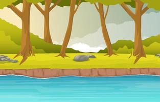 Waldszene mit fließender Flussillustration vektor