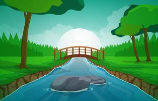 morgonlandskapsscen med flod, skog och träd vektor