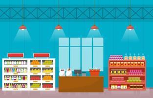 flache Illustration des Supermarktlebensmittelgeschäfts vektor