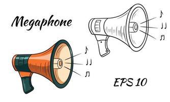 illustration av en megafon, högtalaruppsättning