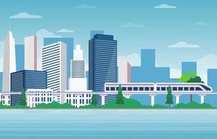 storstadsscen med flod- och tågillustration vektor