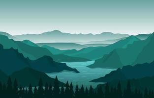 naturlandskap med slingrande flod, berg och skog vektor
