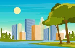 stadssilhuett med park, träd och flodillustration vektor