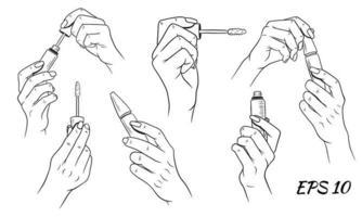 Wimperntusche in Händen gesetzt vektor
