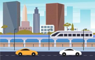 Großstadtszene mit Fluss- und Zugillustration vektor