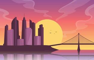 stadens silhuett med flod, sol och bro vektor