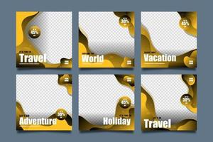 Reisevorlagen für Social-Media-Post-Set vektor