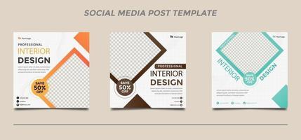 inrednings mallar för sociala medier inlägg set vektor
