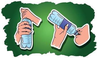 vatten i en plastflaskuppsättning vektor