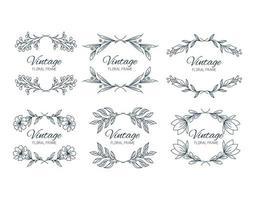 sätta blommiga ramar. blommig krans. unik dekoration för gratulationskort, bröllopsinbjudan, spara datumet. vektor illustration