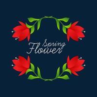 härlig blommig ramvektorillustration. bröllop blommor
