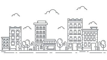 Stadtpanorama der dünnen Linie Art auf weißem Hintergrund. Umriss Stadtbild vektor