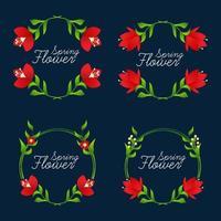 samling av härlig blommig ram, vektorillustration. bröllop blommor.