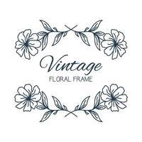 handritad blommig ram. blommig krans med blad för bröllop. dekorativa element för design. vektor illustration