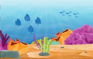 Unterwasserszene mit Fisch- und Korallenriffillustration