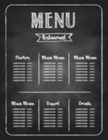 restaurang mat meny designuppsättning vektor