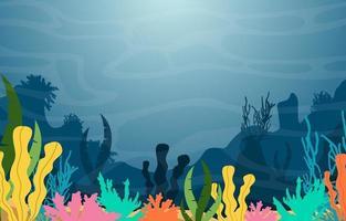 Unterwasserszene mit Korallenriffillustration