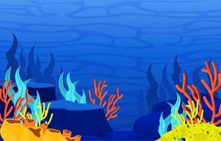 undervattensplats med korallrevillustration vektor