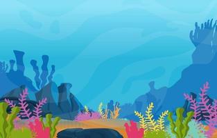 undervattensplats med korallrevillustration