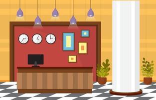 Hotellobby mit Rezeption und Möbelillustration vektor