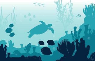 Unterwasserszene mit Schildkröten-, Fisch- und Korallenriffillustration
