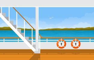 Kreuzfahrtschiff Deck mit Rettungsring und Ozeanlandschaft vektor