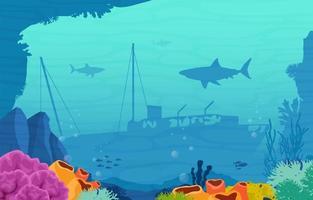 undervattensscen med sjunkit skepp, fisk och korallrevillustration