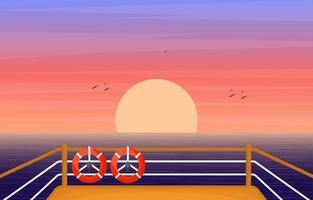Kreuzfahrtschiff Deck mit Sonnenaufgang und Ozean Horizont Illustration vektor