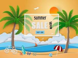 sommarförsäljning bakgrundsdesign med pappersskuren tropisk strand, kokospalmer och paraply vektor