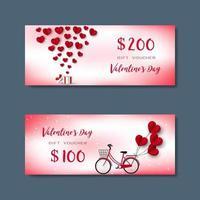 Geschenkgutschein für den glücklichen Valentinstag vektor